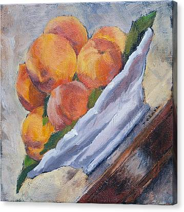 Peaches     Order This One If You Don't Want Blank White Surrounding Your Image  Canvas Print by Roger Clark