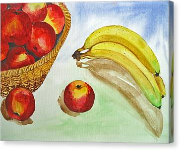 Peaches And Bananas Canvas Print by Shakhenabat Kasana