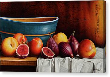 Peaches And Figs Canvas Print by Horacio Cardozo