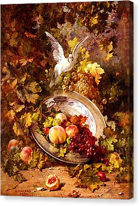 Canvas Print featuring the painting Peaches And Grapes With A Dove - Bourland - 1875 by Antoine Bourland