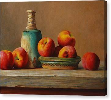 Peaches And Green Ceramic Canvas Print by Dan Petrov
