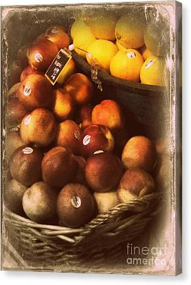 Peaches And Lemons - Old Photo - Top Finisher Canvas Print by Miriam Danar