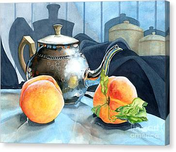 Peaches And Tea Canvas Print by Barbara Jewell