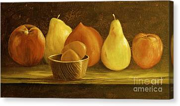 Peaches Pears And Eggs Canvas Print by AnnaJo Vahle
