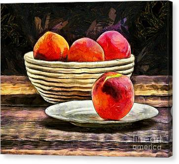 Peaches Still Life Canvas Print by Edward Fielding