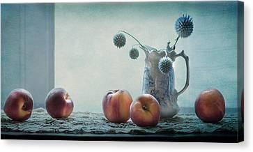 Peaches Still Life Canvas Print by Maggie Terlecki
