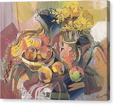 Peaches With Immorteles Canvas Print by Meruzhan Khachatryan