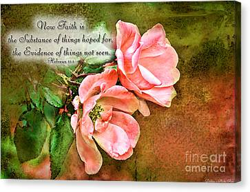 Peachy Keen With Verse  Canvas Print by Debbie Portwood