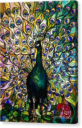 Turquoise Stained Glass Canvas Print - Peacock by American School