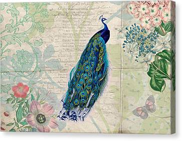 Peacock And Botanical Art Canvas Print