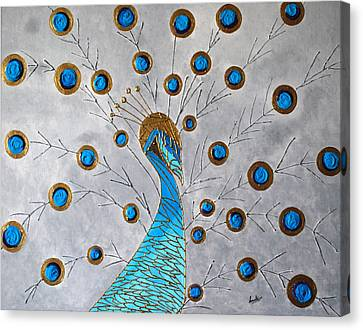 Peacock And Its Beauty Canvas Print by Sonali Kukreja