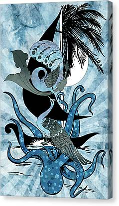Indian Ink Canvas Print - Peacock And The Octopus by Arun Sivaprasad