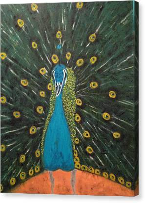 Canvas Print featuring the painting Peacock by Brindha Naveen