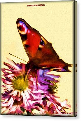 Canvas Print featuring the digital art Peacock Butterfly by Daniel Janda