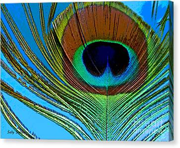 Peacock Feather 3 Canvas Print by Sally Simon