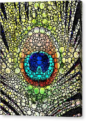 Art Sale Canvas Print - Peacock Feather - Stone Rock'd Art By Sharon Cummings by Sharon Cummings