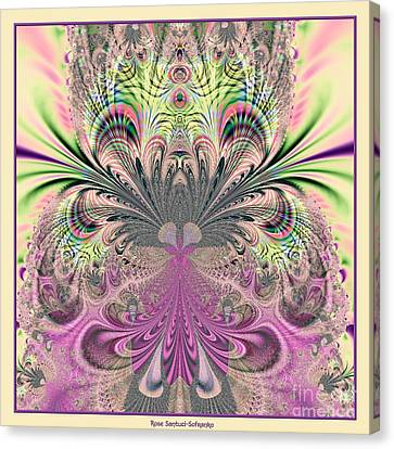 Peacock Feathers Bouquet Fractal 157 Canvas Print by Rose Santuci-Sofranko