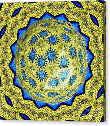 Peacock Feathers Under Polyhedron Glass 3 Canvas Print by Rose Santuci-Sofranko