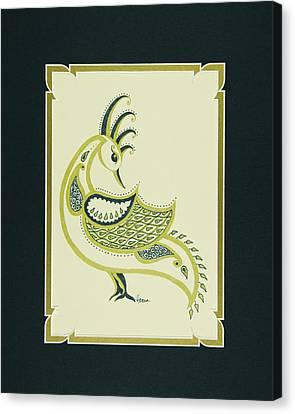 Matting Canvas Print - Peacock In Green Right Facing by Hema Narayanan