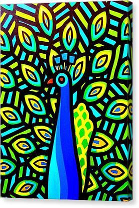 Peacock Iv Canvas Print by John  Nolan