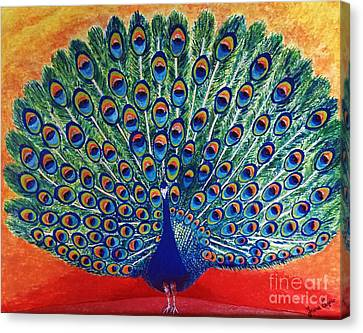 Canvas Print featuring the painting Peacock By Jasna Gopic by Jasna Gopic