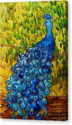 Canvas Print featuring the painting Peacock by Katherine Young-Beck