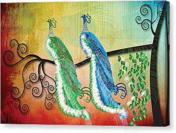 Canvas Print featuring the digital art Peacock Love by Kim Prowse