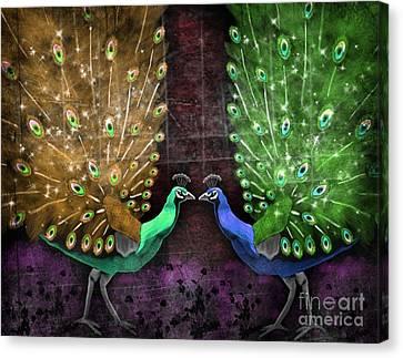 Peacock Magic Canvas Print by Karen Sheltrown