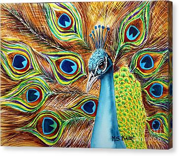 Canvas Print featuring the painting Peacock by Maria Barry