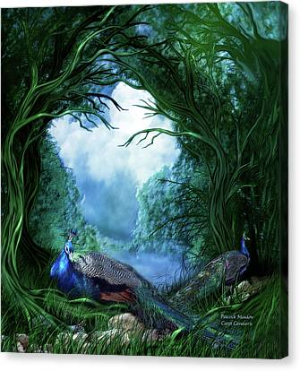 Canvas Print featuring the mixed media Peacock Meadow by Carol Cavalaris
