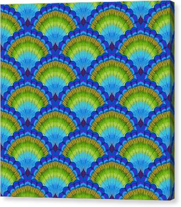 Peafowl Canvas Print - Peacock Scallop Feathers by Kimberly McSparran