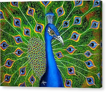 Peacock Splendor Canvas Print by Adele Moscaritolo