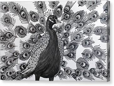 Canvas Print featuring the drawing Peacock Walk by Megan Dirsa-DuBois