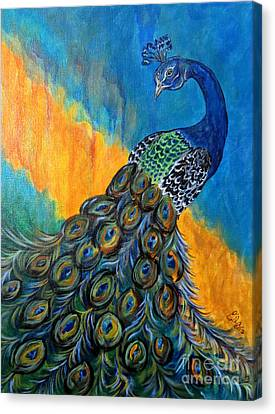 Canvas Print featuring the painting Peacock Waltz #3 by Ella Kaye Dickey