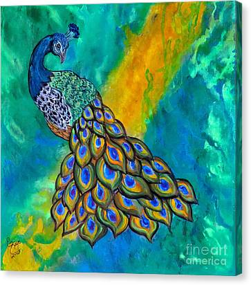 Canvas Print featuring the painting Peacock Waltz II by Ella Kaye Dickey
