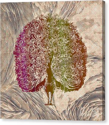 Peacock With Rainbow Colors Canvas Print