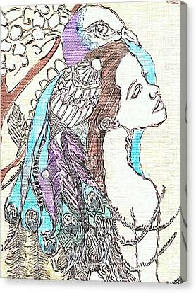 Peacock Woman 2 Canvas Print by Amy Sorrell