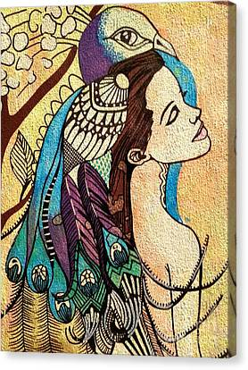 Peacock Woman Canvas Print