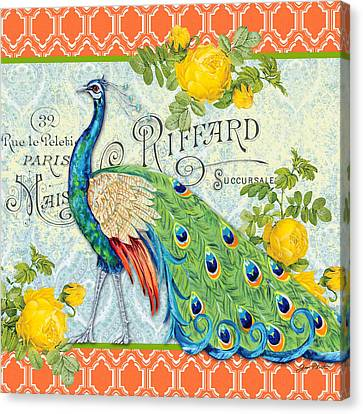 Peacocks In The Rose Garden-3 Canvas Print by Jean Plout