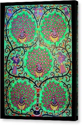 Peacocks-madhubani Painting Canvas Print