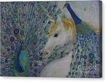 Peacocks With Unicorn Canvas Print