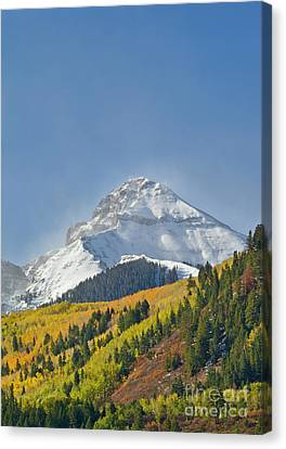 Peak After First Snow Rocky Mts Colorado Canvas Print by Yva Momatiuk John Eastcott