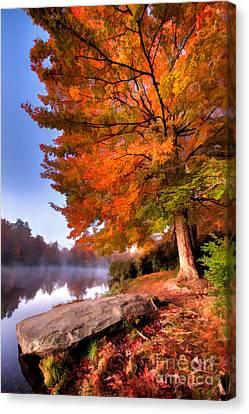 Peak Of Color - Blue Ridge Parkway Price Lake Canvas Print by Dan Carmichael