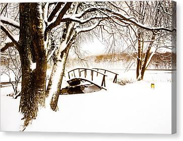Peaks Snow Bridge Canvas Print by Mark East