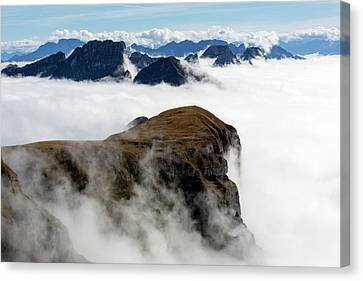 Inversion Canvas Print - Peaks Surrounded By Sea Of Fog by Dr Juerg Alean