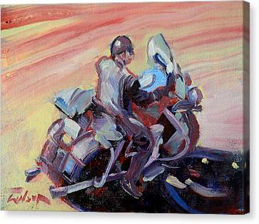 Peanut Lid Biker - Skid Lid Helmet Canvas Print by Ron Wilson
