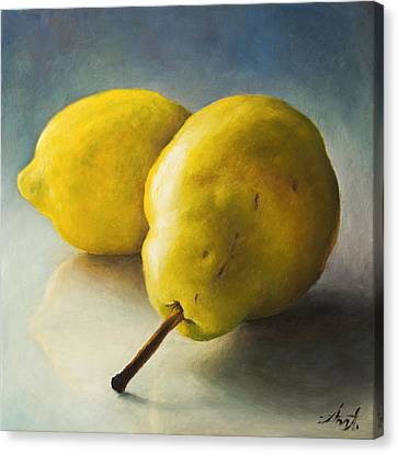 Pear And Lemon Canvas Print by Anna Abramska