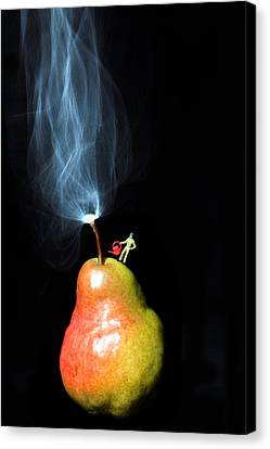 Pear And Smoke Little People On Food Canvas Print by Paul Ge