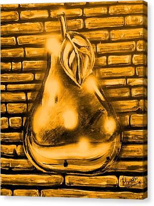 Pear Gold Canvas Print by Marcello Cicchini