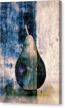 Pear In Blue Canvas Print by Carol Leigh